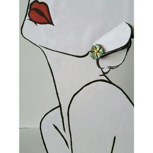 Vintage enameled metal flower screwback earrings